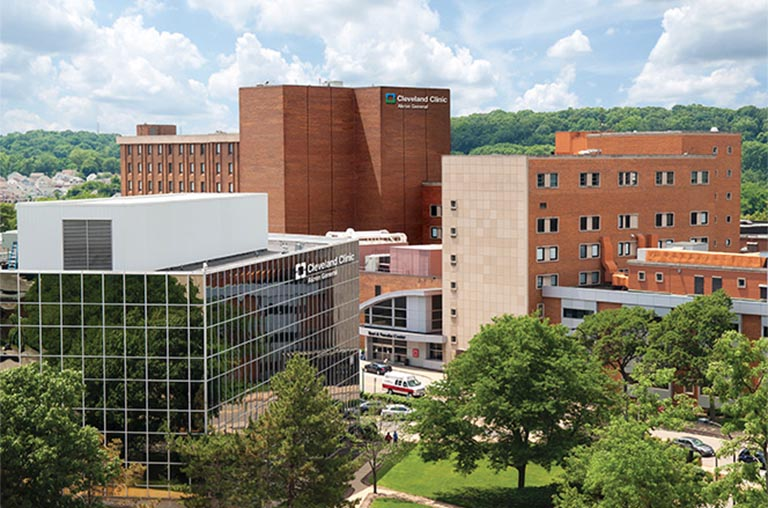 brick and glass buildings of the Cleveland Clinic in Akron